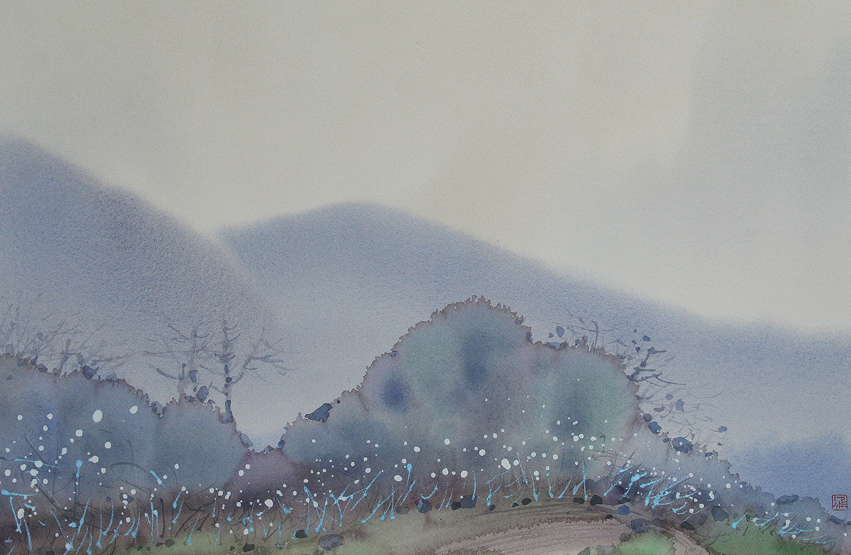 雨意阑珊  纸本水彩  42cm×64cm  2015年